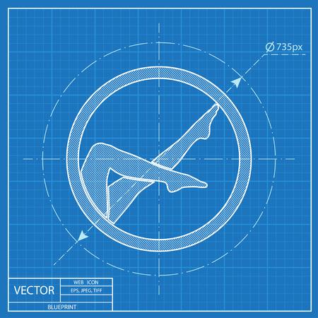 woman legs vector blueprint icon
