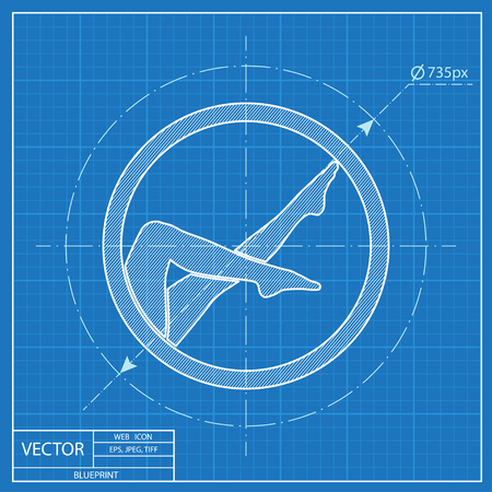 woman legs vector blueprint icon