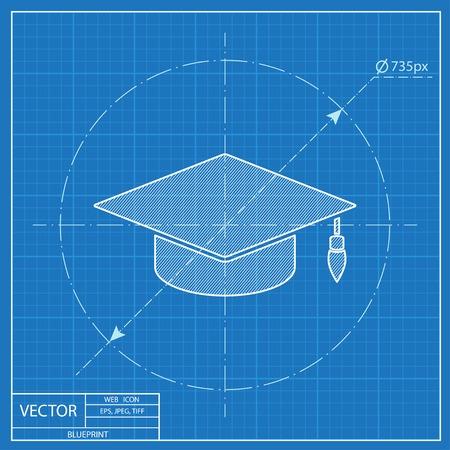 academic hat vector blueprint icon