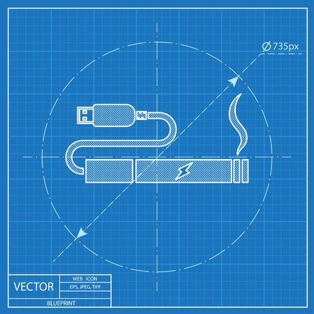 e cig: electronic cigarettes charge from pc port blueprint icon