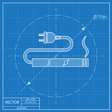 charge: electronic cigarettes charge blueprint icon Illustration