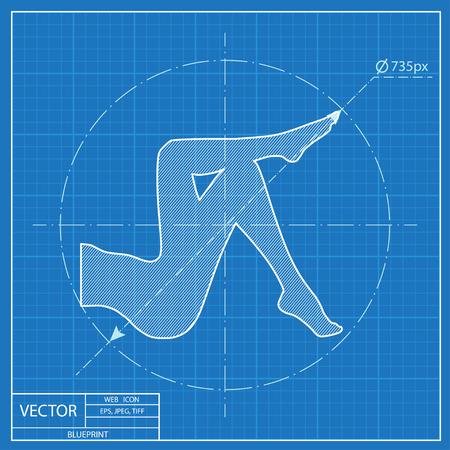 women body: woman legs vector blueprint icon