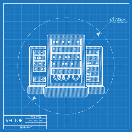 cabinets: server cabinets vector blueprint icon