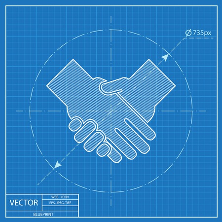 handshake vector blueprint icon