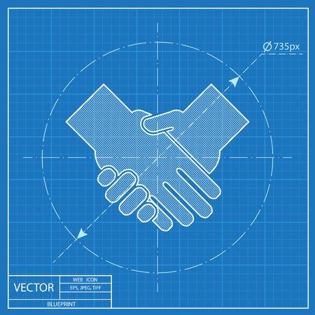 handshake vector blueprint icon Reklamní fotografie - 54116531