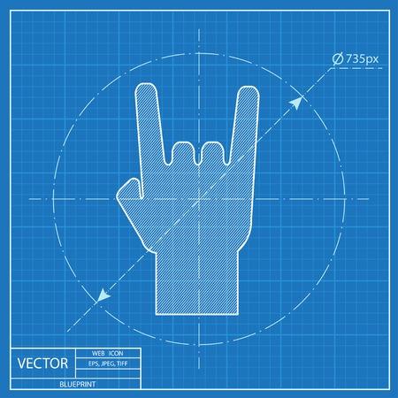 punk rock: rock hand sign blueprint icon