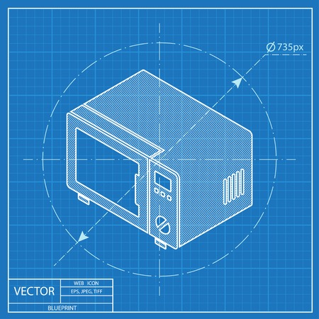 Cooking oven isometric 3d blueprint icon royalty free cliparts microwave oven isometric 3d blueprint icon vector malvernweather Image collections