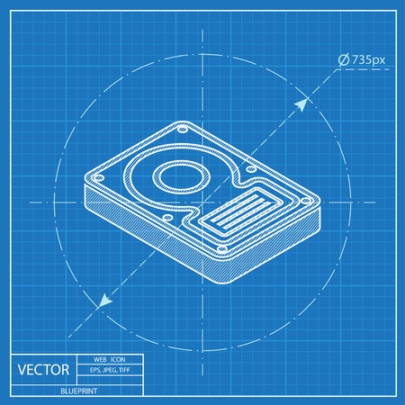 hard disk drive: hard disk drive storage isometric 3d blueprint icon