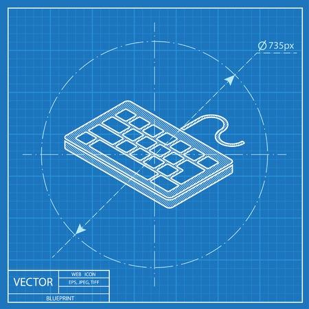 pc icon: pc keyboard isometric 3d blueprint icon