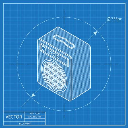 guitar amplifier: guitar amplifier isometric 3d blueprint icon