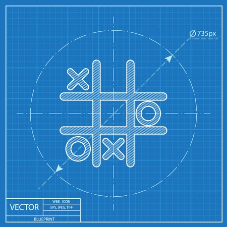 Tic tac toe game vector blueprint icon