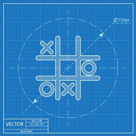 tic tac toe: Tic tac toe game vector blueprint icon Illustration