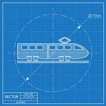 locomotion: speed train vector blueprint icon Illustration
