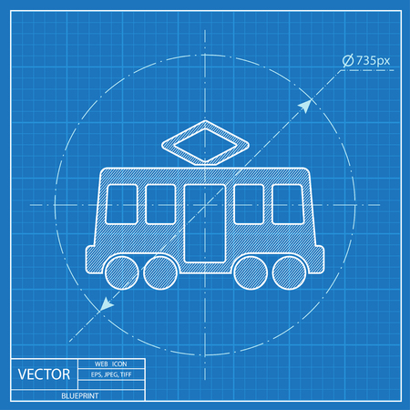 parada de tranvía icono de vector plan