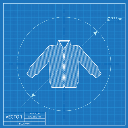 warmed: casual jacket vector blueprint icon Illustration