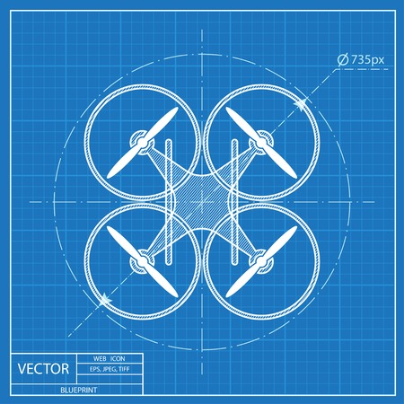 quadrocopter drone vector blueprint icon