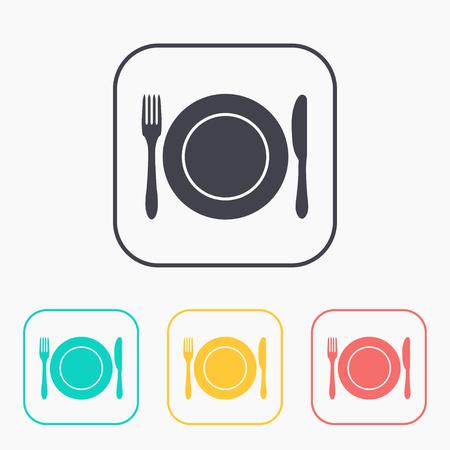 Icona cucina di piatto, forchetta e coltello Vettoriali