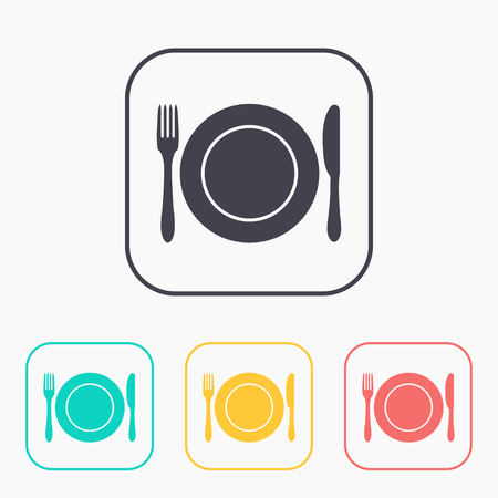 settings: kitchen icon of dish, fork and knife