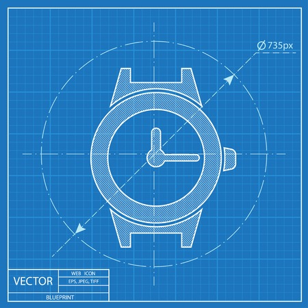 wrist watch vector blueprint icon 版權商用圖片 - 54206799
