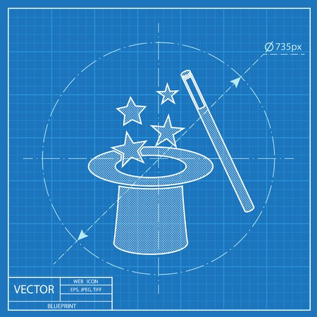 magical equipment: Vector magic hat and wand with sparkles blueprint icon Illustration