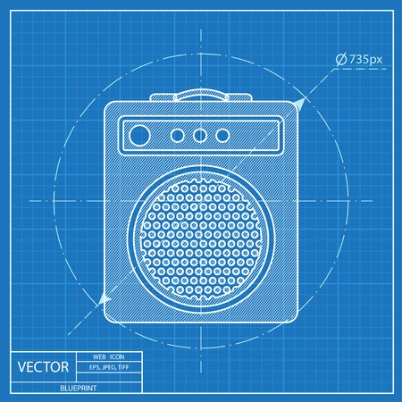 overdrive: guitar amplifier vector blueprint icon Illustration