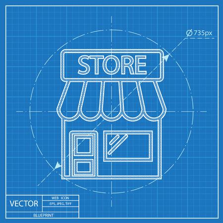 store: Store  vector blueprint icon