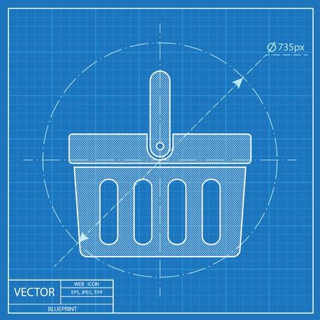 Cesta de color amarillo sobre fondo blanco ilustracin vectorial compras de vectores de plantilla icono malvernweather Image collections