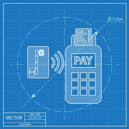 wirelessly: Card paying wirelessly over POS terminal.  vector blueprint icon.