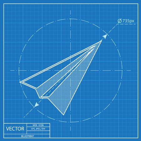 Paper Plane sign. Airplane symbol. Travel vector blueprint icon.
