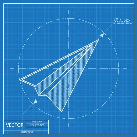 Paper Plane sign. Airplane symbol. Travel vector blueprint icon.