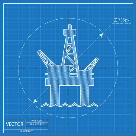 oil platform: Oil platform vector blueprint icon