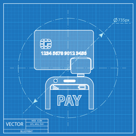 reader: Mobile payment. Credit card reader on smartphone scanning a credit card vector blueprint icon