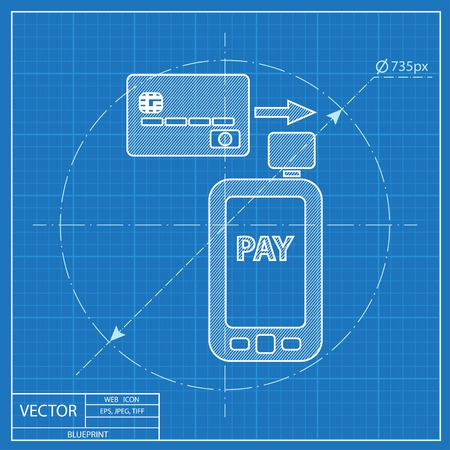 card reader: Mobile payment. Credit card reader on smartphone scanning a credit card vector blueprint icon