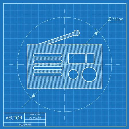 retro radio: retro radio vector blueprint icon Illustration