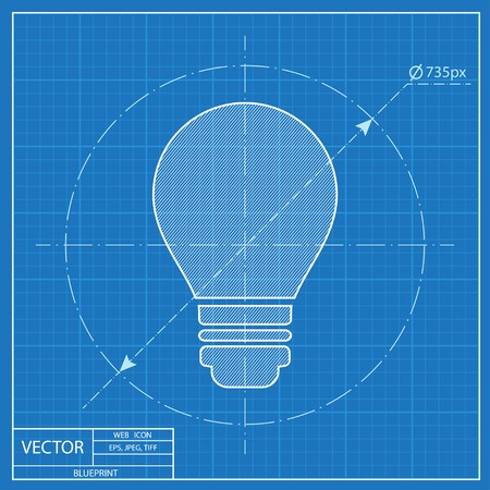 electricity icon: electric bulb vector blueprint icon Illustration