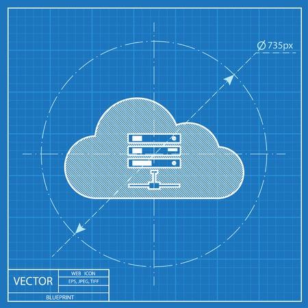 webhosting: Icon of computer server, vector blueprint illustration