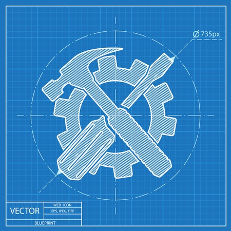 Crossed screwdriver and hammer tools, vector blueprint icon