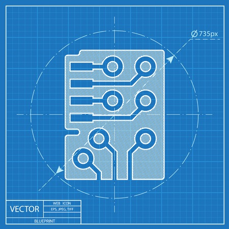 microchip: Web blueprint icon of microchip, vector design Illustration