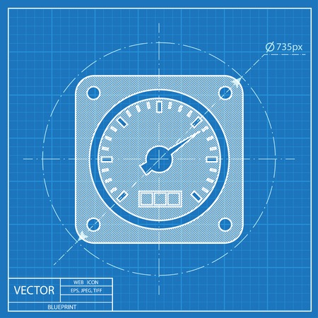 tester: vector blueprint icon of gauge