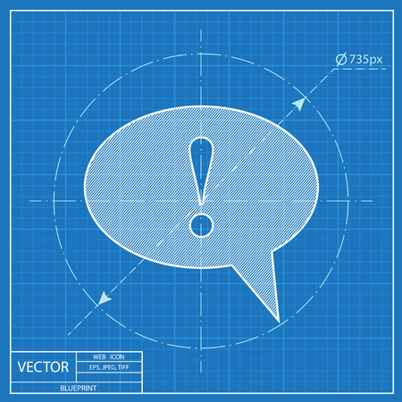 signo de admiracion: Icon of speech bubble with exclamation mark, vector blueprint illustration Vectores