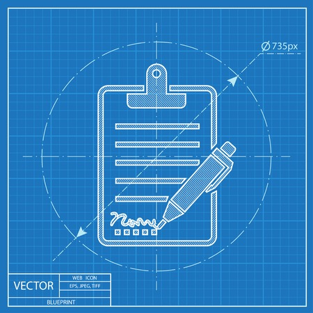 copy writing: Clipboard with sign and pen blueprint icon Illustration