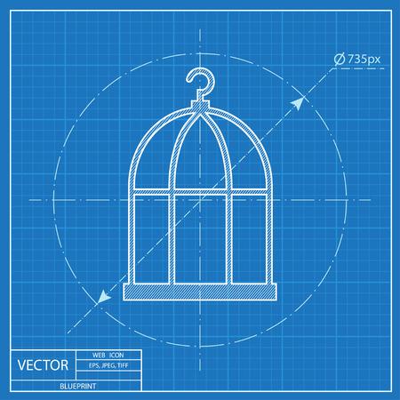 prison house: Bird cage blueprint icon