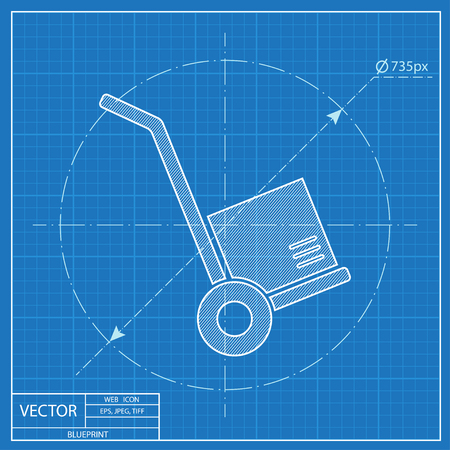 hand cart: cargo transportation with hand cart blueprint icon