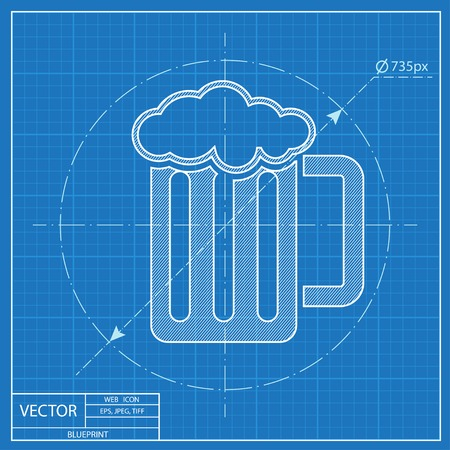 guinness: Glass of beer blueprint icon