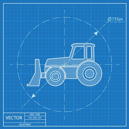 Bulldozer vector blueprint icon royalty free cliparts vectors and bulldozer vector blueprint icon vector malvernweather Image collections