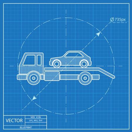 tow car: Tow car evacuation blueprint icon Illustration