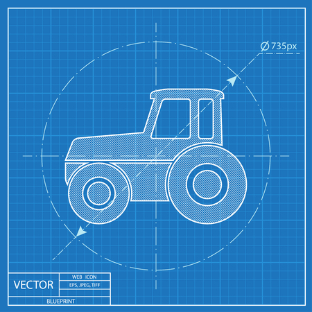 heavy duty: Tractor vector blueprint icon