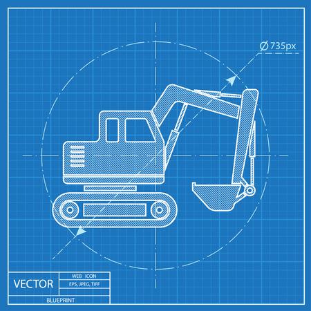 excavating machine: excavator vector blueprint icon