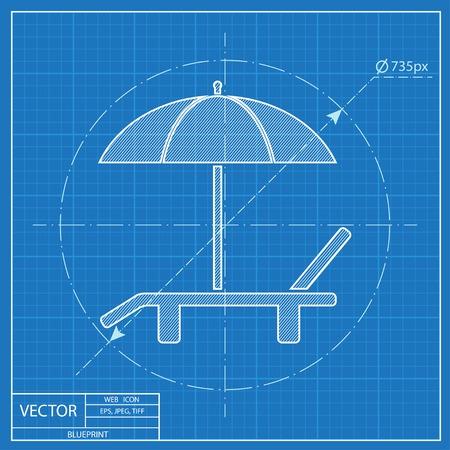 deck: Beach vector blueprint icon. Umbrella with deck chair