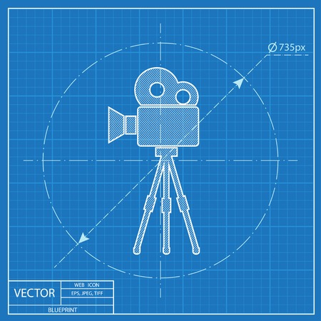 Camera on tripod blueprint icon royalty free cliparts vectors and movie camera on tripod blueprint icon vector malvernweather Image collections